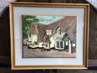 The Royal Oak - Winsford, Somerset - Oil Painting