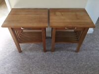 Lovely Unique Pair of Solid Oak Bedside Tables or Lamp Tables