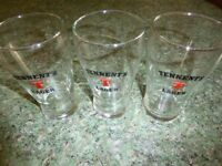 11 PINT GLASSES - 5 x TENNENTS, 6 x THEAKSTON - ALL IN EXCELLENT CONDITION