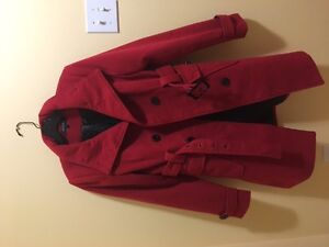 Eclipse red peacoat with belt - worn twice