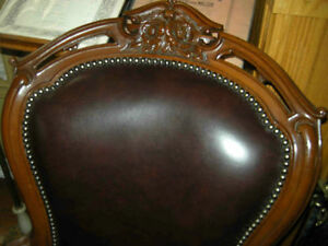 antique victorian chair, no arms, new leather
