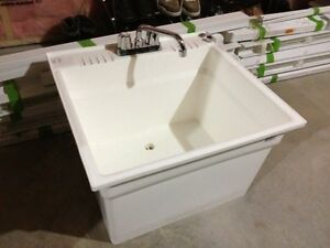 BRAND NEW WHITE LAUNDRY TUB WITH TAPS FIRST $60 TAKES