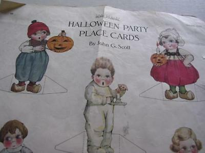 1 Page of Halloween Party Place Cards from a 1920 Magazine