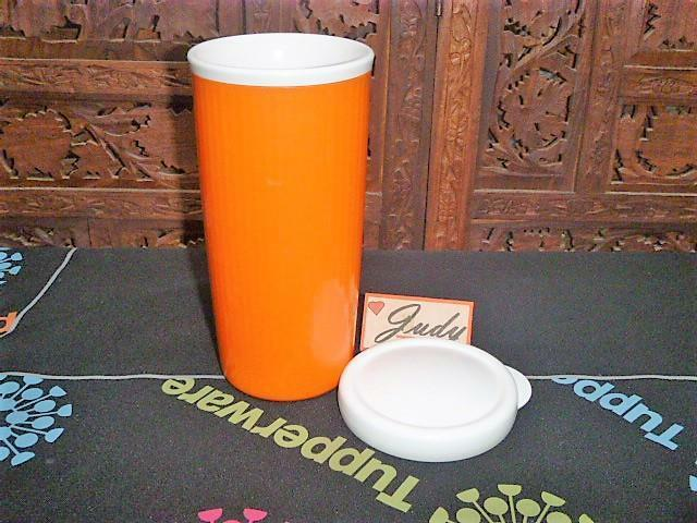 Tupperware BRIGHT Orange INSULATED Tumbler 24 oz. + White Seal ~Travel Cup