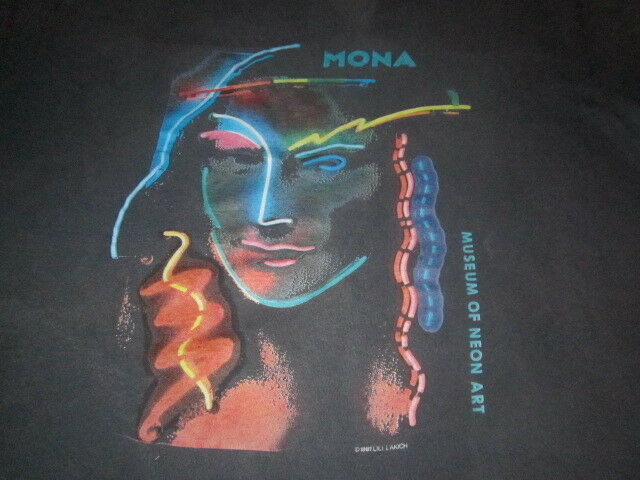vintage 1980S NEON MONA LISA TEE SHIRT 1981 VINTAGE ART NEW WAVE 80S SHIRT  XL