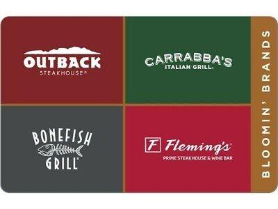 Outback Carrabba's bonefish flemings Restaurant PDF Certificate Gift Card $25