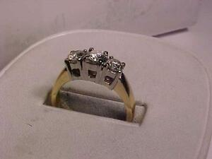 #988-PAST PRESENT FUTURE-Y/W/Gold ENGAGEMENT RING-.84ct of DIAMONDS APPRAISED-$5,850.00-SELL-
