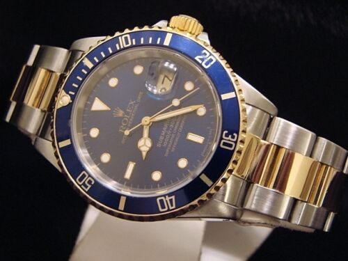 Mens Rolex Submariner Date 18k Yellow Gold & Steel Watch Blue Dial Bezel 16613 - watch picture 1