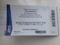 Libertines - One ticket for Plymouth Pavillions - Monday 25th September 2017
