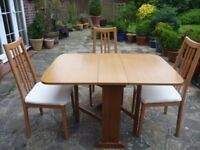 Folding Butterfly Table & 3 Chairs