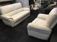 SCS WHITE LEATHER 3+CUDDLE CHAIR STATIC/MANUAL RECLINER