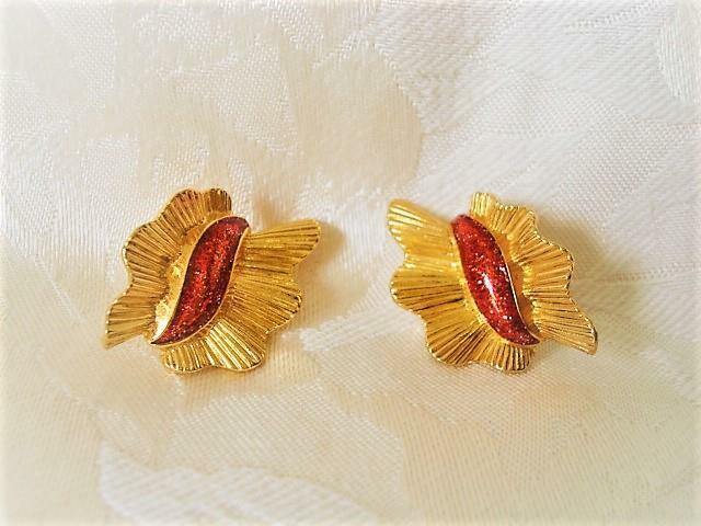 Gold Tone and Red Clip On Earrings With Foil Confetti