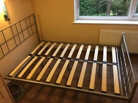 Silver Grey Metal Double Bed Frame