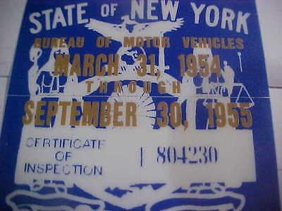 new york 1954-55 inspection sticker windshild