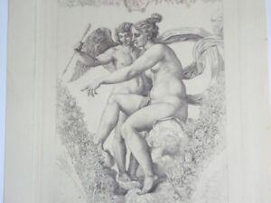 Rare Antique 1884 Engraving After Raphael Tiburce de Mare