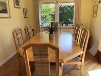 Extendable light oak dining table