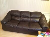 2 leather three seater sofa's