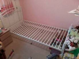 Single white metal bedframe
