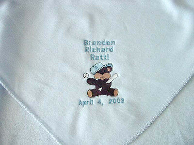 Personalized Boys Baby Newborn Infant Fleece Blanket Blue Coming Home