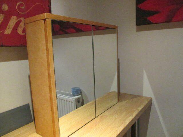 Surprising Double Door Mirrored Wooden Bathroom Cabinet With 1 X Height Adjustable Glass Shelf In Leighton Buzzard Bedfordshire Gumtree Download Free Architecture Designs Scobabritishbridgeorg