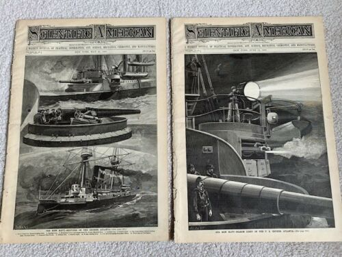 1887 SCIENTIFIC AMERICAN Magazines: 2 Issues - Navy Cruiser - US Atlanta