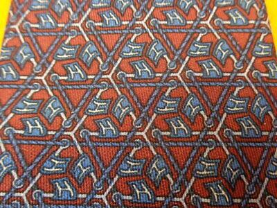 HERMES VINTAGE ~TRIPLE LOGO ~RED BLUE ~ MENS SILK DRESS SHIRT TIE ~ 913 HA 913ha