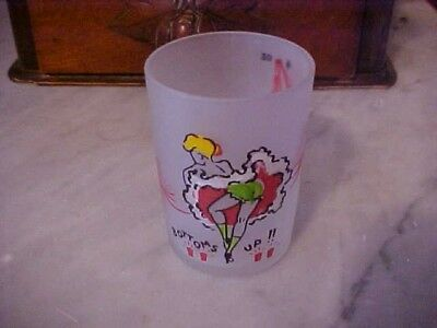"SHOT GLASS FROSTED GLASS w/ DANCER DESIGN ""BOTTOMS UP!!"" MEASURES 1-4 OZ"