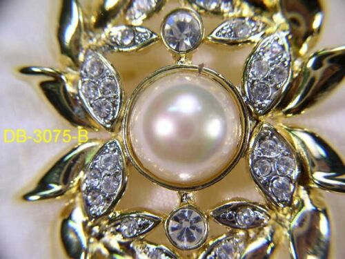 """3....Pc""""s  DESIGNER PIN BROOCHES WITH  SWAROVSKI CRYSTAL & FAUX PEARL LOT 3075UP"""