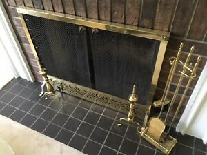 Vintage gold plated fireplace screen and tools