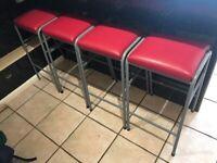 VINTAGE BREAKFAST BAR STOOLS METAL FRAME PADDED RED FAUX LEATHER TOTAL FOURER