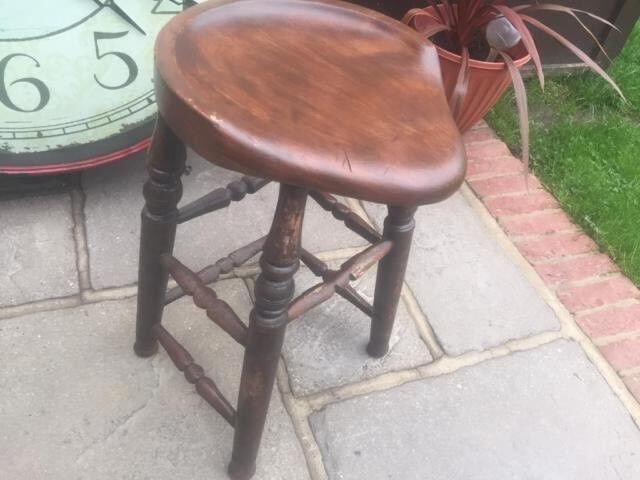 Antique Looking Sturdy Oak Stool - Very Heavy Duty - Shabby Chic Only £55