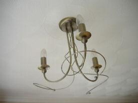 3 light antique gold effect semi flush Chandelier light fitting very nice #1