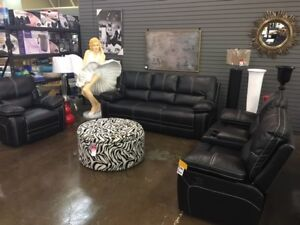 Home Elegance Leather Gel Reclining Sofa, Love and Chair