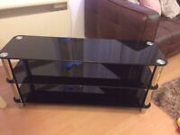 HOME Matrix TV Bench - Black Glass