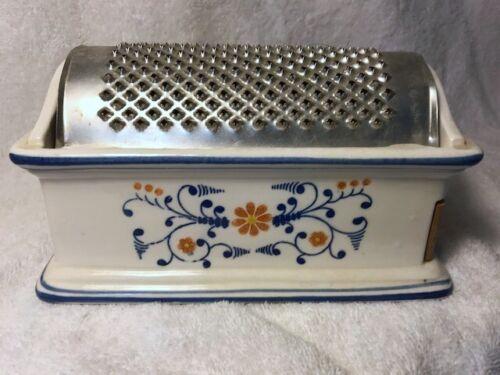 Vintage ceramic grater with wooden drawer