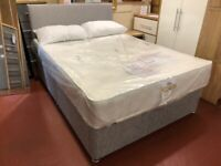 New grey 4ft6 double divan base & matching headboard £199 available today