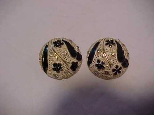 Vintage Signed BSK Enamel & Rhinestone Button Omega Clip Earrings