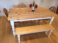 Farmhouse Solid Pine Kitchen Table Four Chairs and Bench