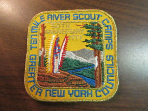 Ten Mile River Scout Camps 50th Anniversary 1977 Rectangular Jacket Patch    c80