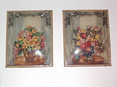 SILHOUETTE Reverse Painted SCROLLS Wall Art Pictures FLOWERS  ANTIQUE Pair
