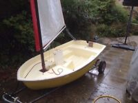 Blue Peter sailing dinghy with trolley