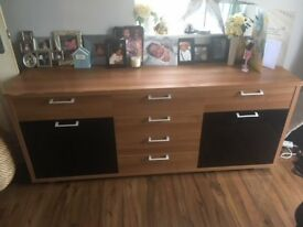 Wood and Dark Glass Sideboard Storage Unit
