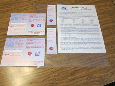 1988 Lot 2 - Buffalo Bills Season Ticket ID Cards w/ Schedule & Post Season Ltr.