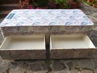 Single Divan Bed & Mattress (2 drawers) VGC