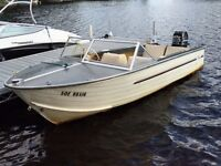 1974 16.5ft Aluminum Springbok boat with 85 HP Merc and trailer!