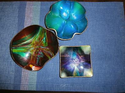 Vtg Trio SeetuSee Portage La Prairie Modernist Trinket Glass & Pig Skin Trays