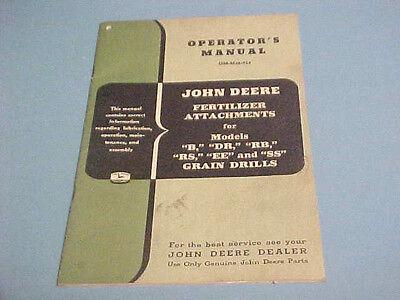 John Deere Fertilizer Attachment Manual Models B-dr-rb-rs-ee-an Ss Grain Drills
