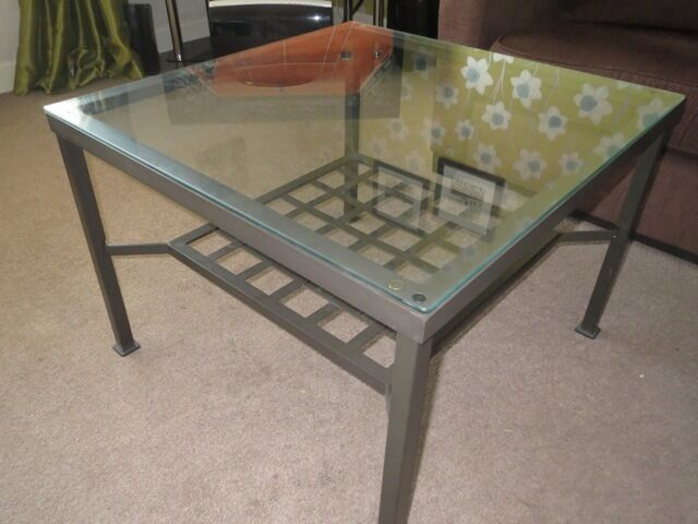 Lovely Ikea Granas Coffee Table Smoke Pet Free Home Glass Top Metal Base Storage Shelf Below