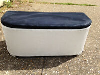 Ottoman storage with suede cover
