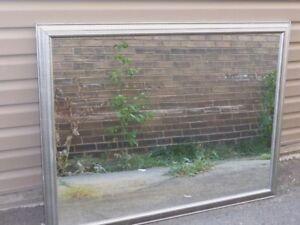 Large Framed MIRROR Grey Wood Frame
